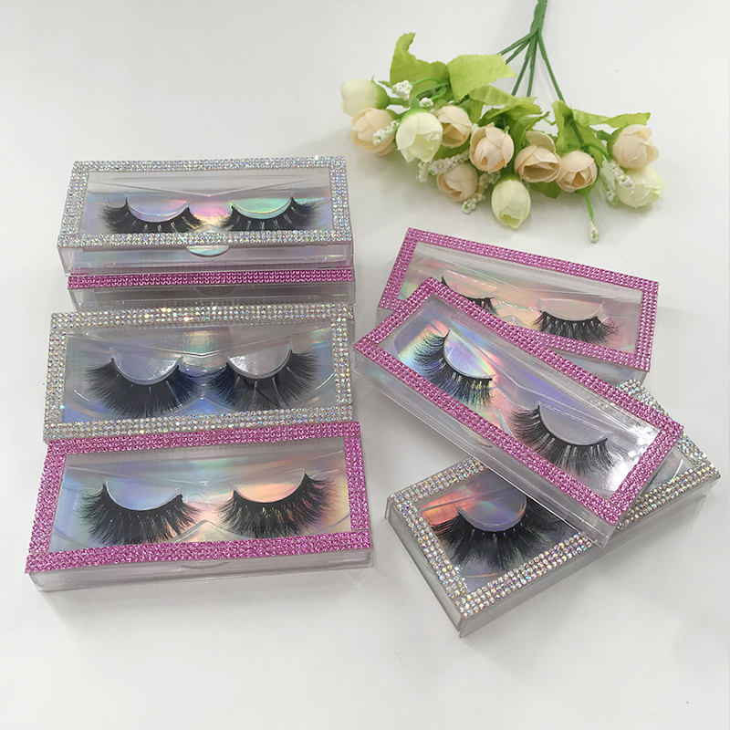Regular 3D Mink Eyelash with Diamond Silver Pink Lash Case Natural Mink Lash