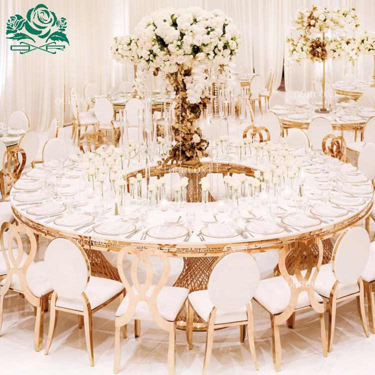 Round half moon white top gold stainless steel frame round dining table for wedding