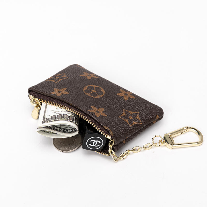 Fashion Hot Selling Small fresh girls short purse with zipper Keychain Coin Purse