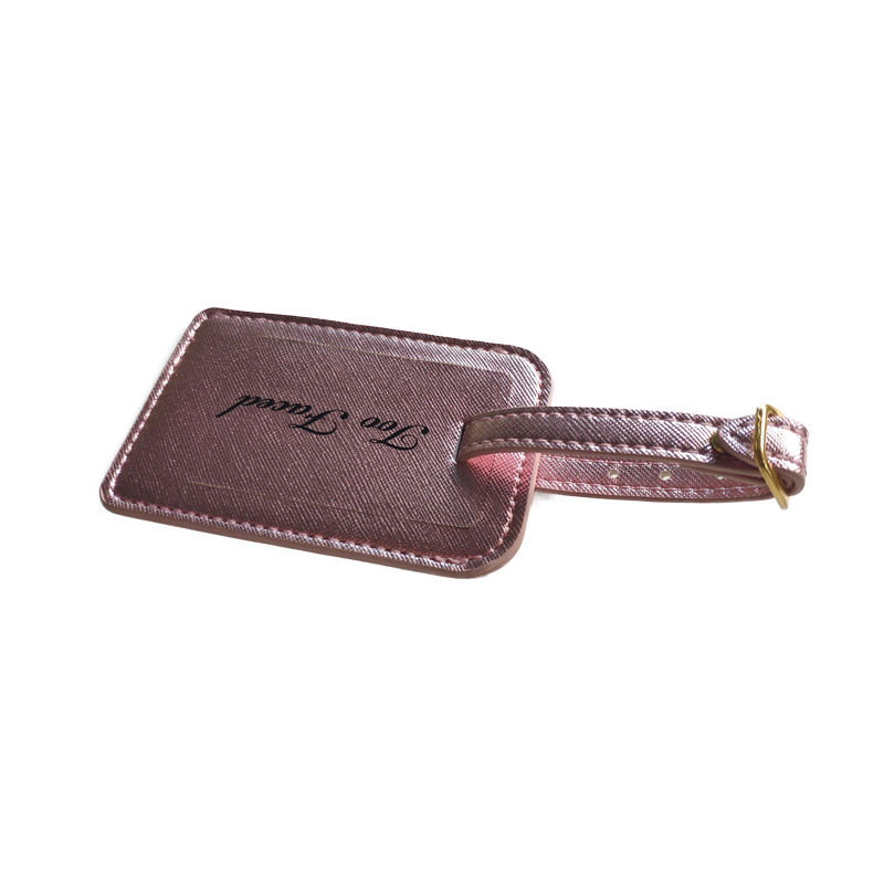 Factory Wholesale Free Sample Real Leather Luggage Tag PU Leather Luggage Tag