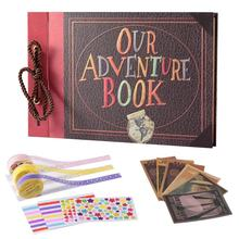 Feiyou wholesale string binding leather hard cover adventure book brown paper diy photo album with gift case