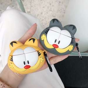 2019 New Big Face Garfield Design Silicone Cover Cases For Apple Airpods Case Compatible 1&2
