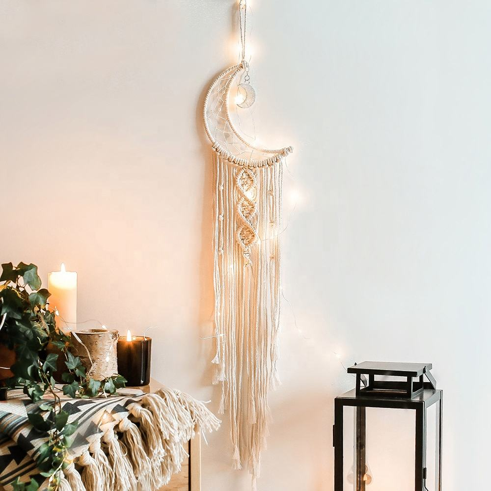 Hot Sell Moon Dream Catcher Macrame Lighted Wall Hanging Apartment Art Handmade Room Home Decor for Wedding Christmas Craft Gift