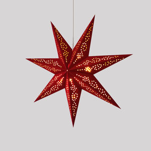 Custom Handmade 7 Points Hallow Out Red Paper Star LED Christmas Lights