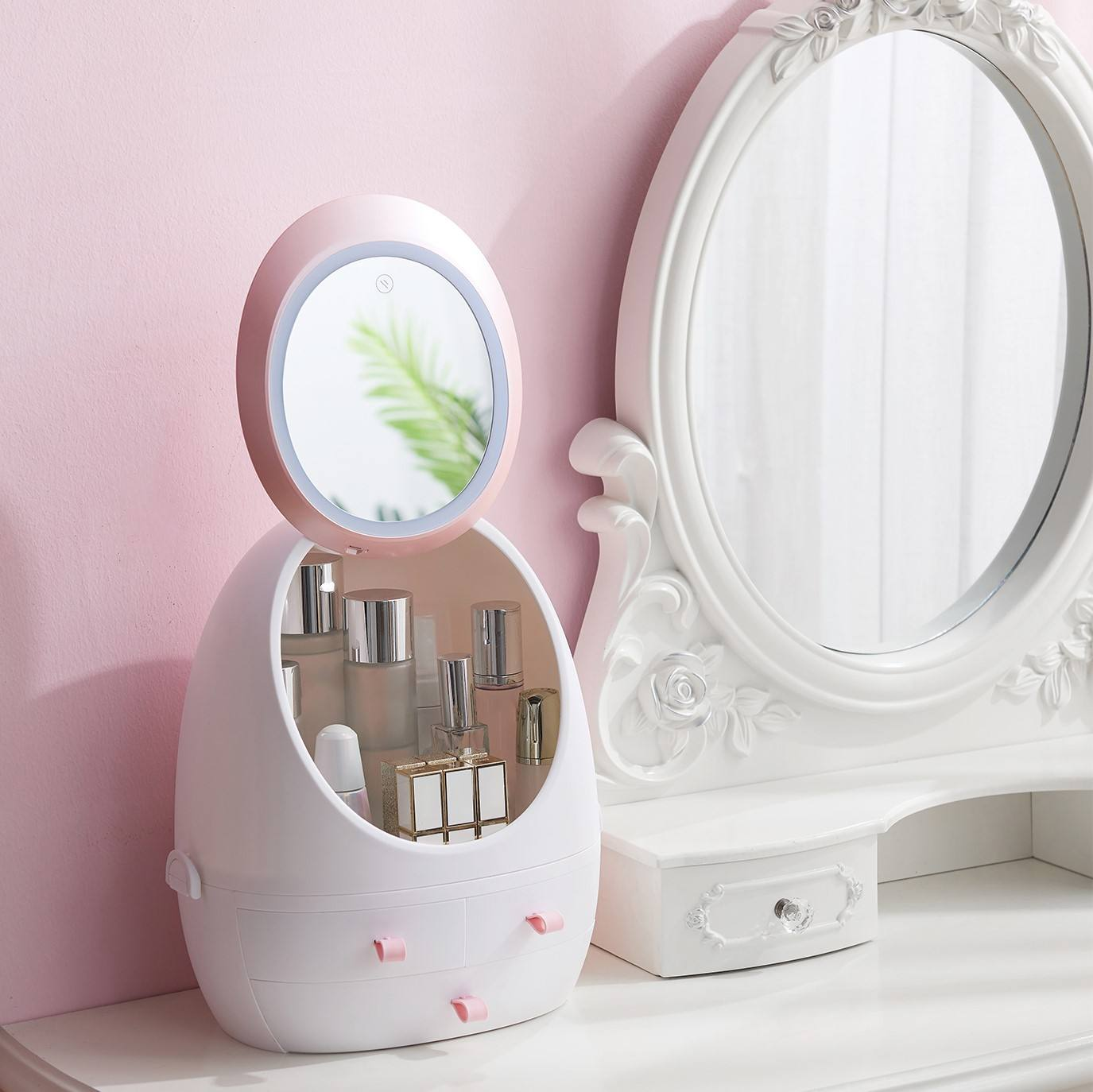 Good use cute vanity mirror with LED Fill Lights Storage Box for Desktop Makeup Mirror