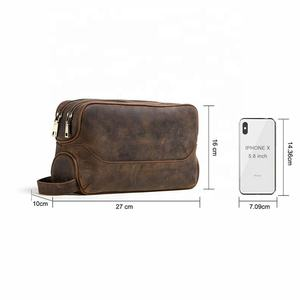 Waterproof Leather Men Travel Toiletry Makeup Organizer Cosmetic Bag