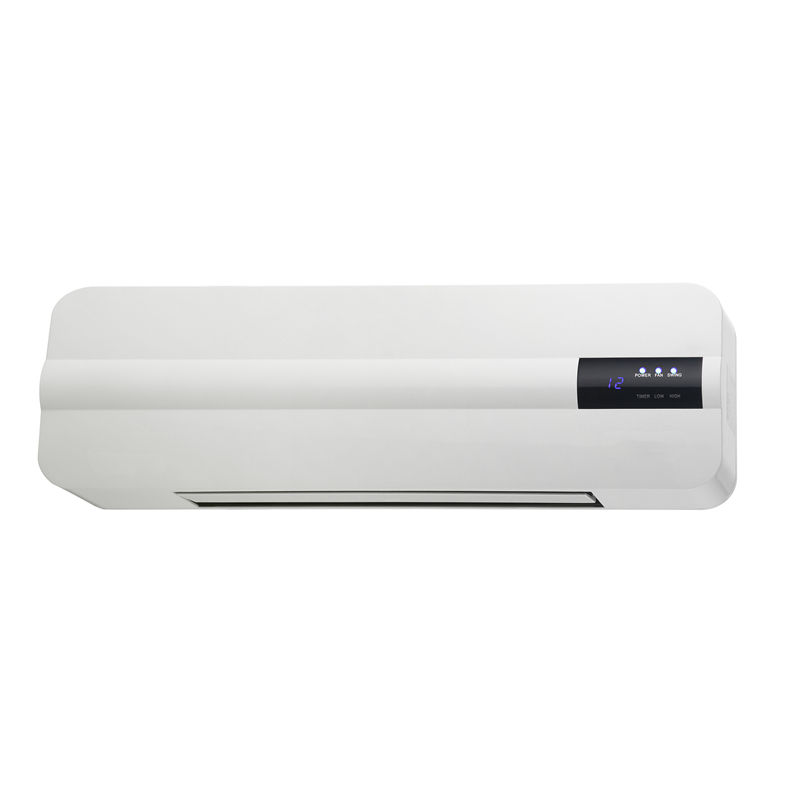 Wall mount electric room heater with remote control, ptc ceramic heating element, 2000w white fan heater for bath, desk