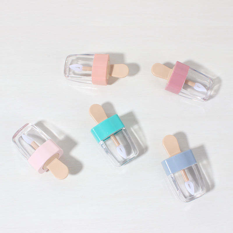 High quality DIY Popsicle shape empty lip gloss tube transparent ice cream lipgloss tubes