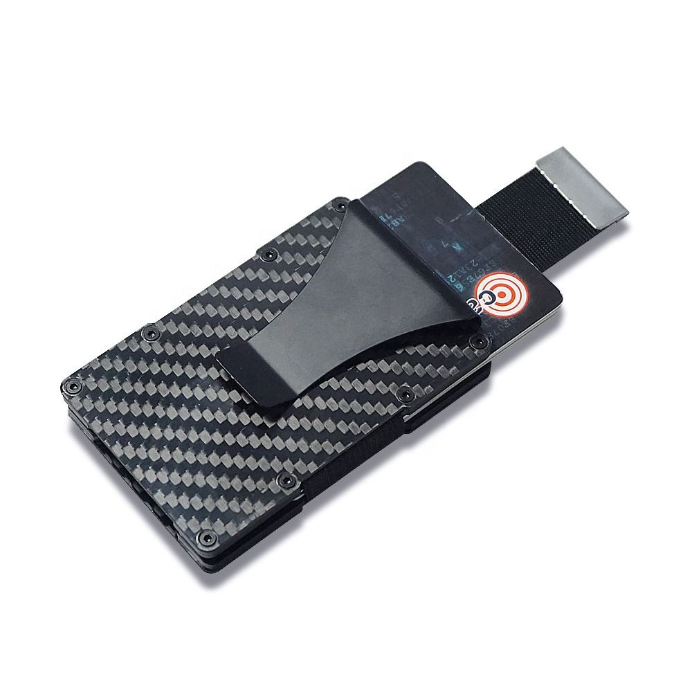 2020 new release Carbon Fiber Aluminum Mens Wallet Money Clip Wallets for Men RFID Blocking Minimalist Wallet