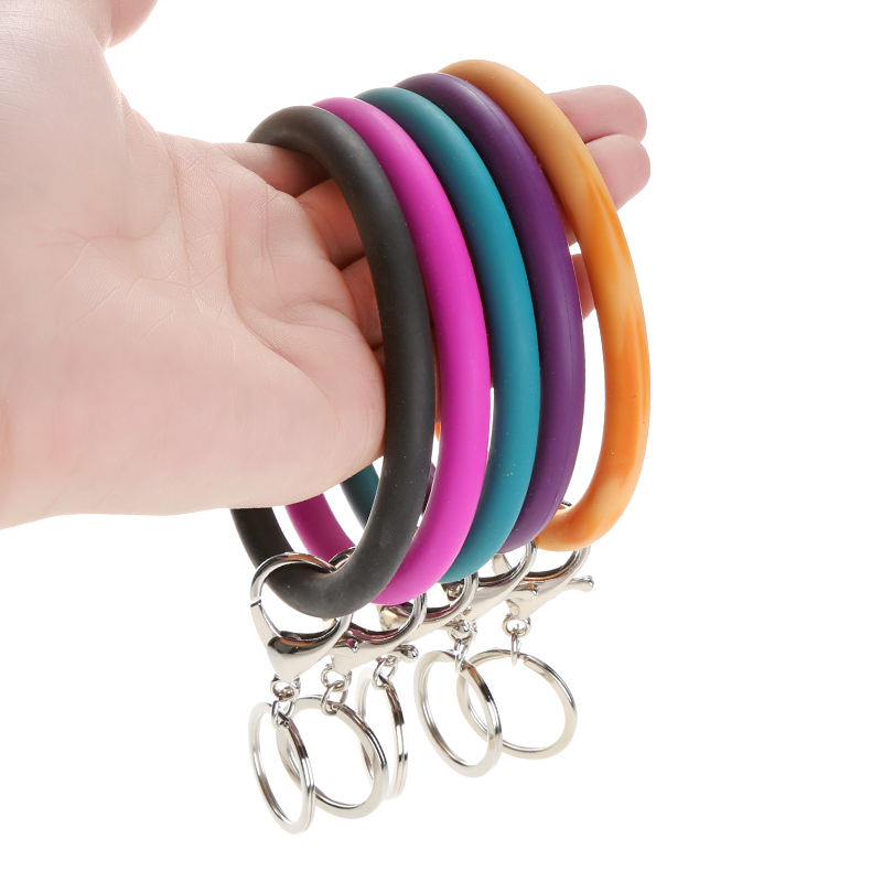 Wristlet KeyChain Bangle,Mixed Color Silicone Bracelets Loop Key Rings