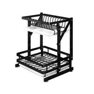 2019 new design 2-Tier Water Sink Dish Plate Drying Drainer Rack Holder With Tray