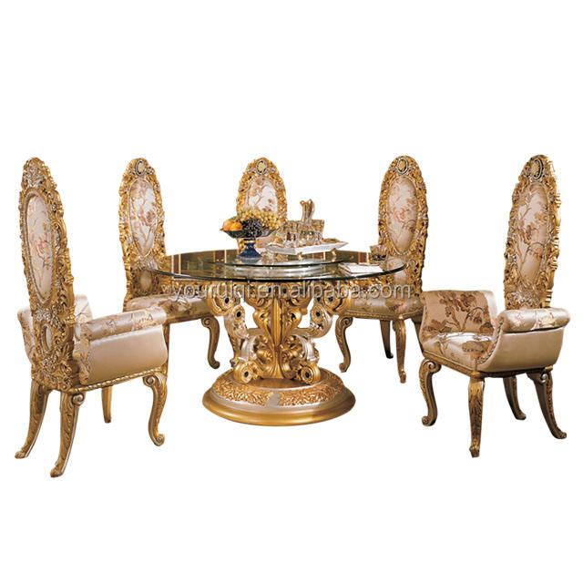 Royal French Baroque Gold Brass Metal Round Dining Table for Castle/ Louis XV Arabic Indian style 24 K Gilded Dining furniture