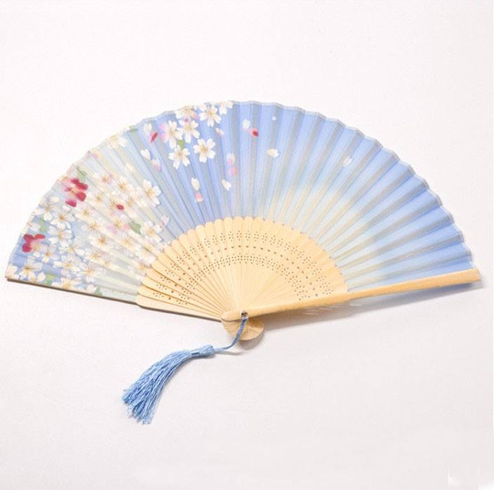 2020 NEW Bamboo products wholesale glow custom printed folding hand fan personelisde silk embroider holder hand fan