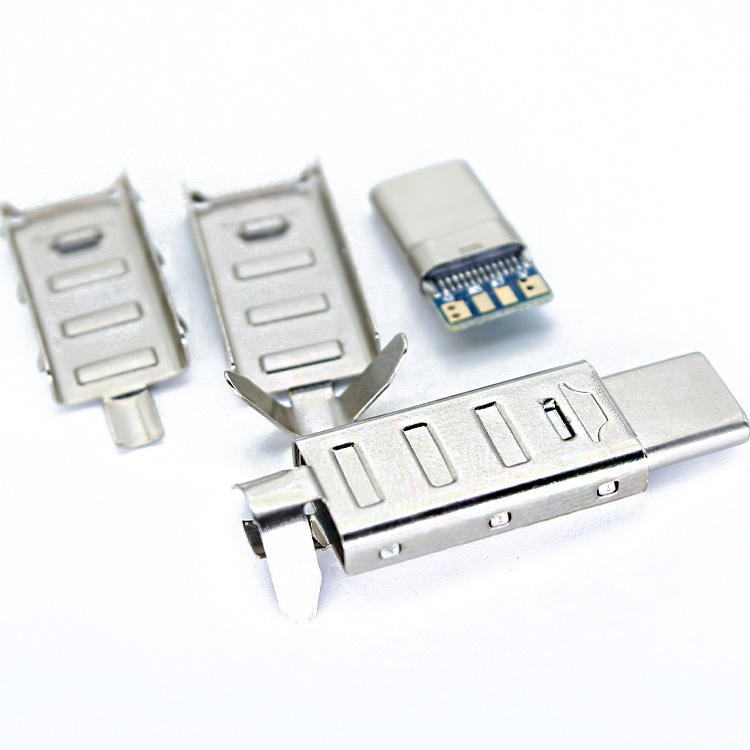 HI-Q 24Pin Usb C Housing Solder SMD Gold Plated Usb-c Connector 2.0 Male 4pin Type C Connector Metal Housing