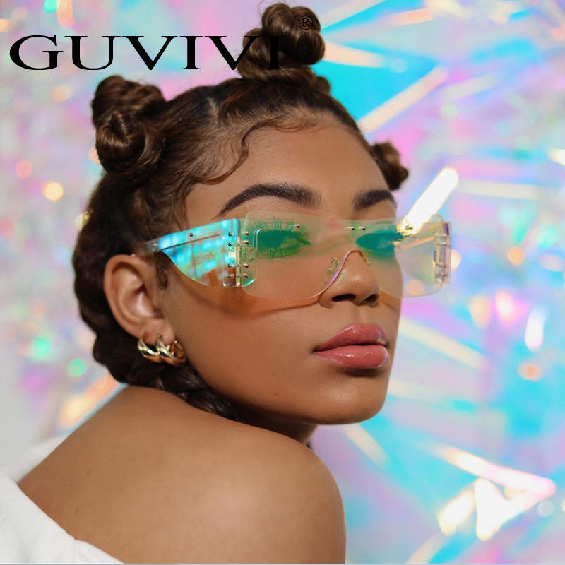GUVIVI 2019 New Mirrored One-piece China Oem women sunglasses Oversized Stylish sunglasses for women