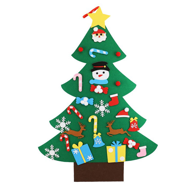 Custom DIY craft kids felt christmas tree with ornaments Children room felt decoration