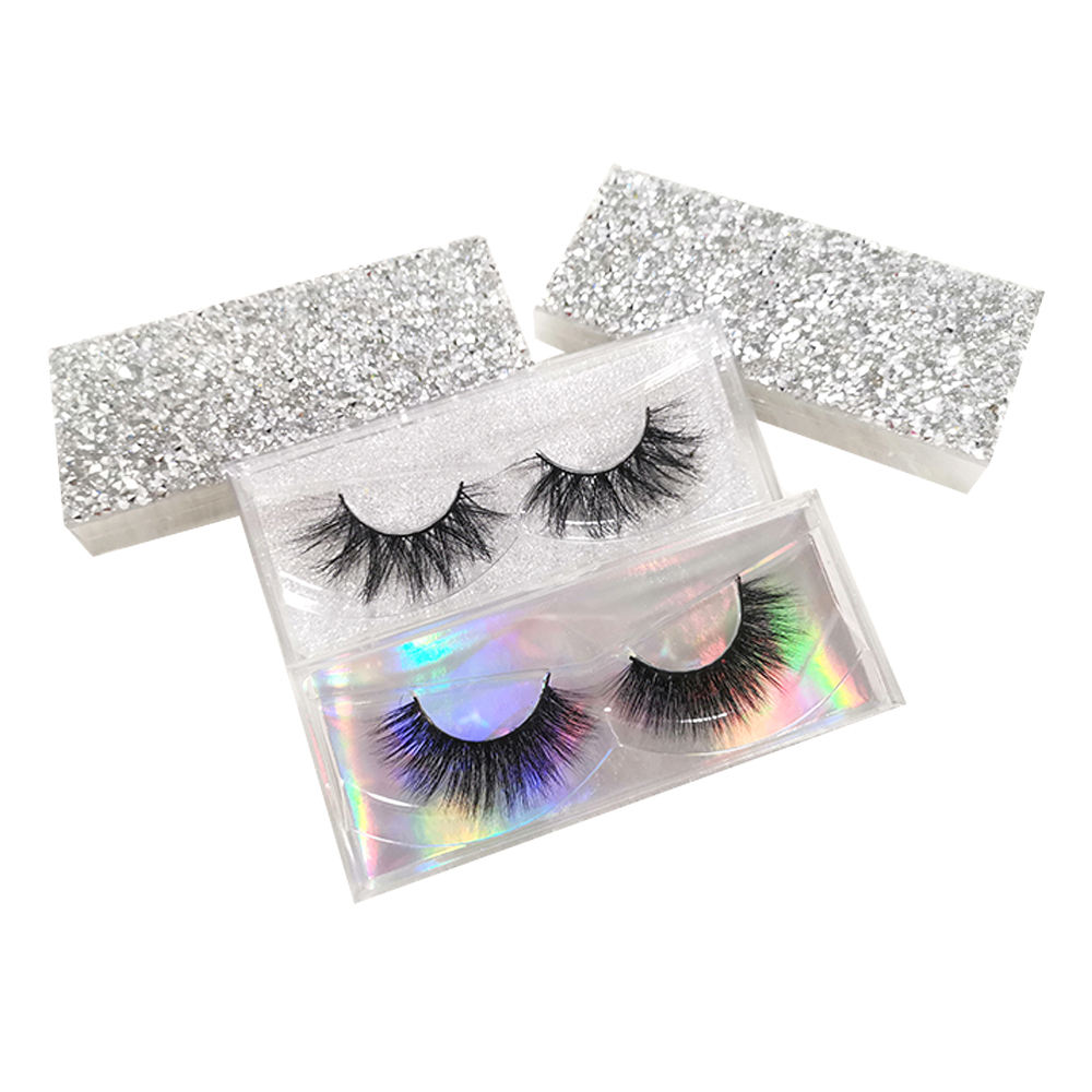 Wholesale eyelash vendor 3d mink fur eyelashes with bling bling eyelash box set with diamonds