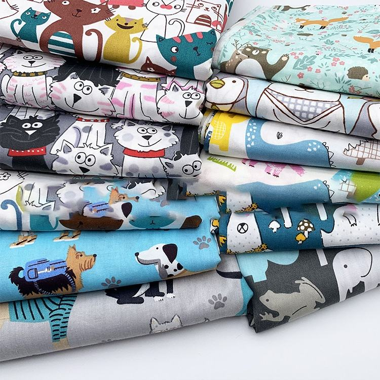 100% cotton bundles cute baby animal print DIY patchwork fabric for sewing fat quarter quilting
