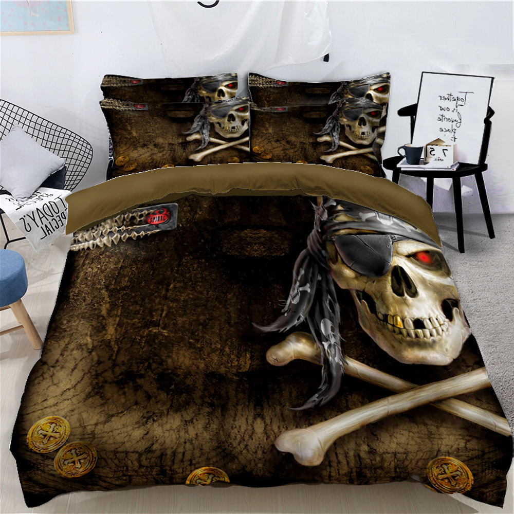 Pirate Skull decoration digital printing 4-piece DIY quilt cover sheet advanced customized bedding