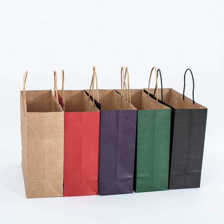 Customized logo Eco friendly recyclable bolsas de papel luxury gift shopping kraft paper bag with handle