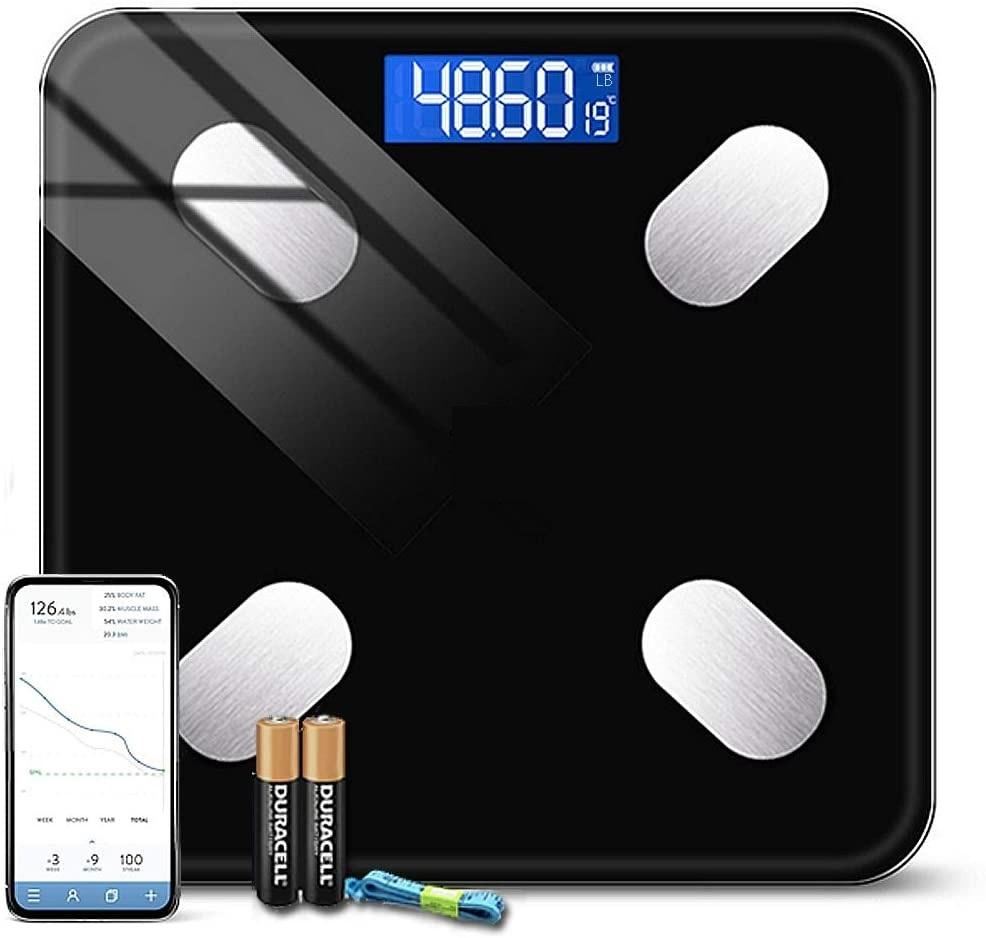 2019 Smart Body Scale Wireless Bathroom Weight Scale with iOS, Android APP, Unlimited Users