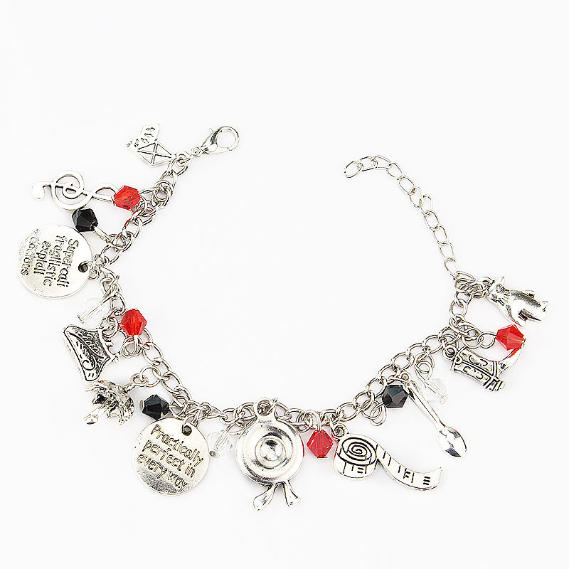 Fashion Mary Poppins Inspired Bracelet Practically Perfect In Every Way Hat Umbrella Shoes Charm Bracelets For Women