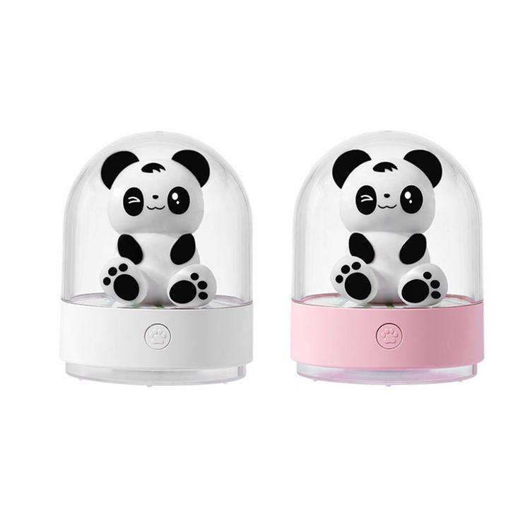 Aromatherapy Panda Night Light USB Rechargeable Essential Oil Diffuser 7-Color LED Night Light 2 Light Modes Desktop Tabletop
