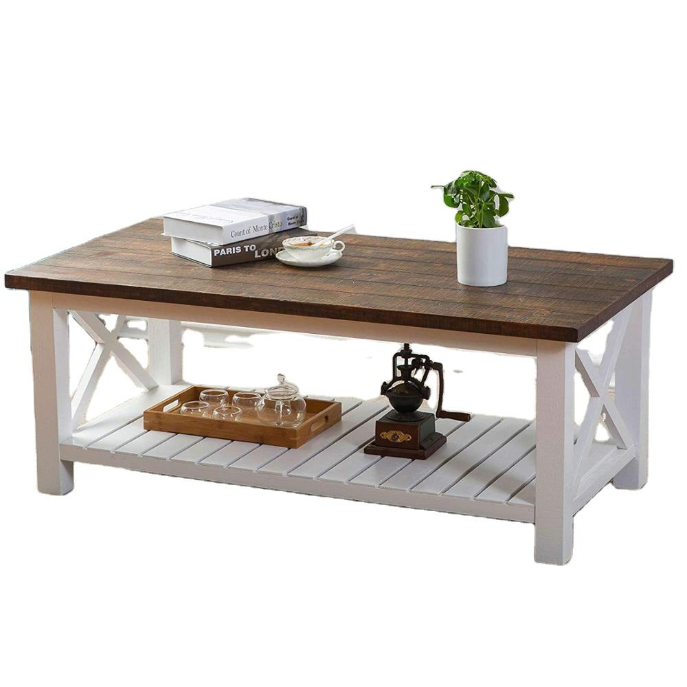 Wood Rustic Coffee Table Farmhouse Vintage Cocktail Table with Shelf for Living Room White and Brown