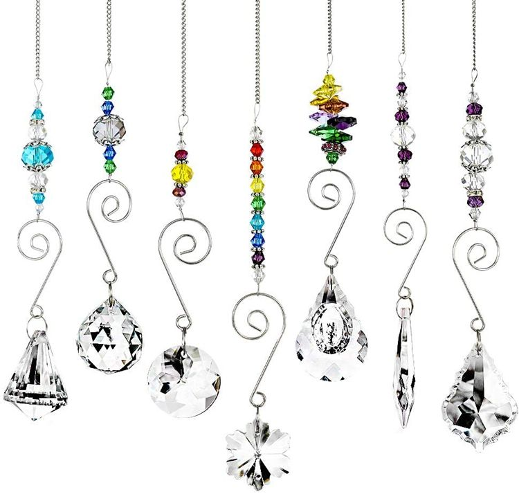 Multi-Size Shapes Rainbow Maker Window Hanging Ornaments Clear Crystal Chakra Suncatcher