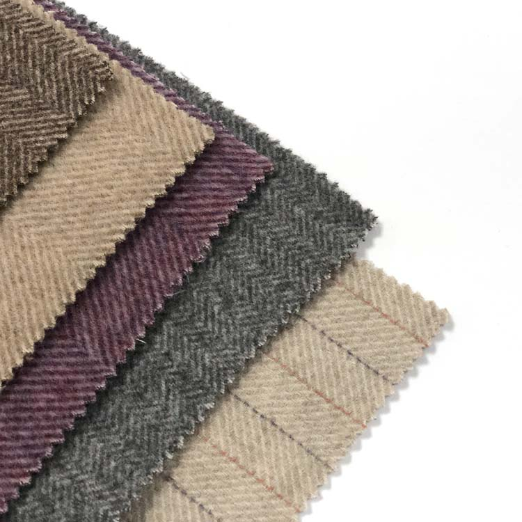 Merino Wool Herringbone Wool Fabric 50%Customized Color