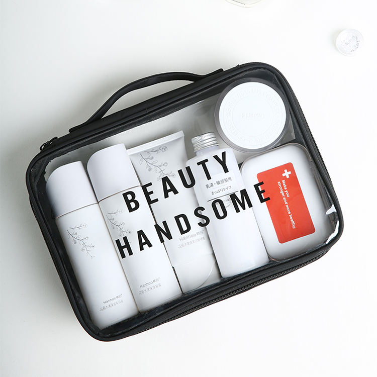 Hot Sale Clear Transparent PVC Cosmetic Bag Waterproof Clear Cosmetics Makeup Bag Customized Travel Clear Clutch Bag Beauty Case