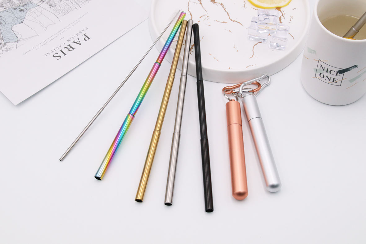 Reusable Telescopic Collapsible Bubble Tea Straws Collapsable Straw Metal