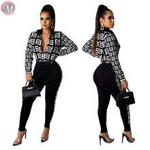 9112909 stylish geometric print jacket trouser sports sets Winter Clothes Women Pant Sets
