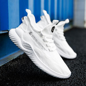 New Fashion Breathable Mesh Upper Material Soft Elastic Band sport Shoes Casual Cool Men Running Sneaker
