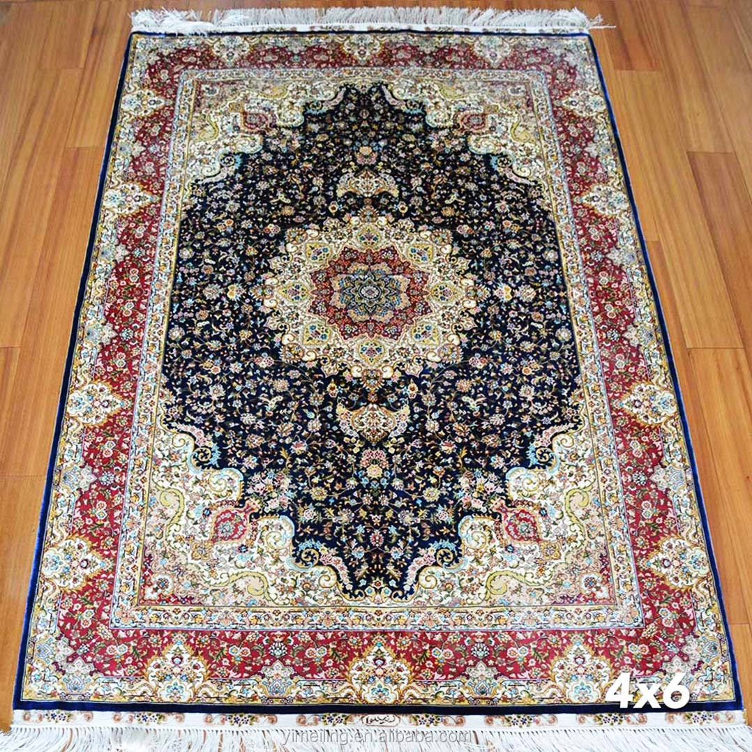 Chinese Factory Price Oriental Hand Knotted Persian Rugs Handmade Silk Carpets Iranian Tabirz Isfahan Kerman Design for Sale