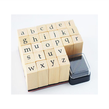 OEM Small and Big English Letter Wooden Rubber Alphabet Toy Stamp Set with Ink Pad