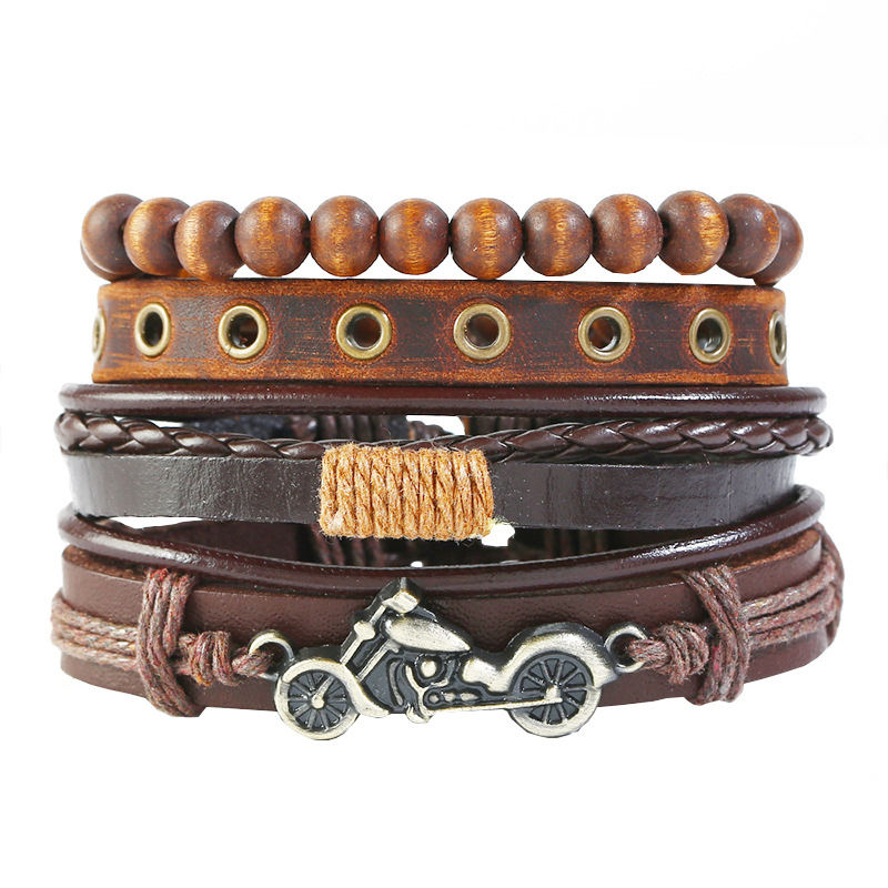 New European and American vintage PU wax rope bead iron alloy braided wood bracelet
