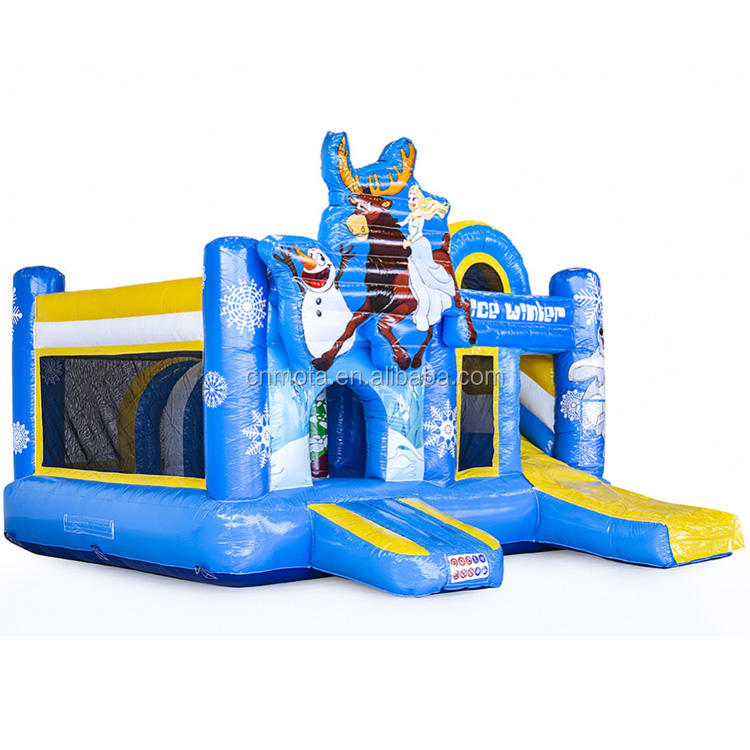 Ice world inflatable snow slide with free air blower, inflatable ice castle with slide for sale