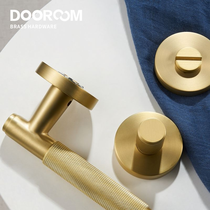 Dooroom Knurled Brass Door Lever Set Interior Bedroom Bathroom Wood Door Lock Set Magnetic Private Passage Dummy Lock Set