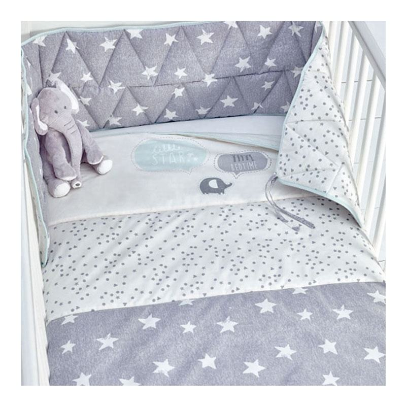 Custom Star Pattern Printed Polyester Bedding Set , Baby Crib Bedding Set