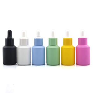 Luxury custom 30ml matte black white pink green blue yellow glass dropper bottle 30ml with colorful dropper