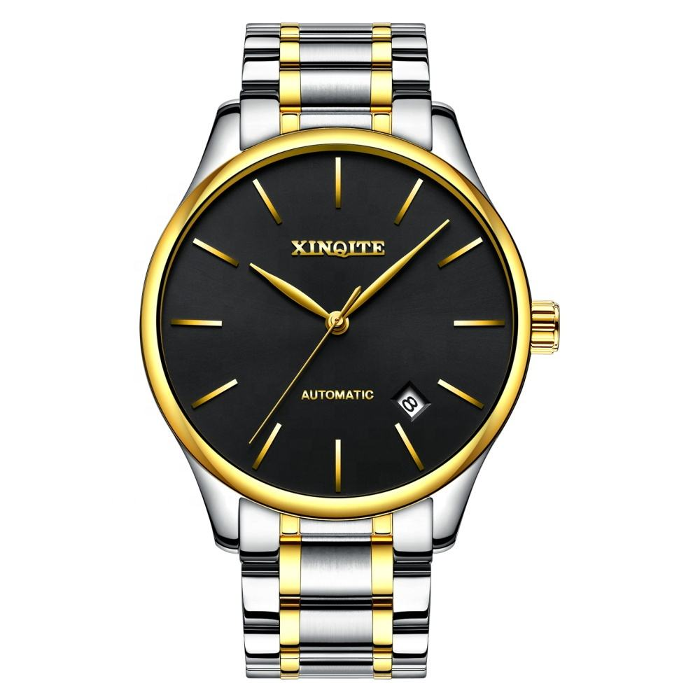 Custom Made Brand Your Own Slim Gold Quartz Wristwatches Men Stainless Steel Sapphire Logo Watches