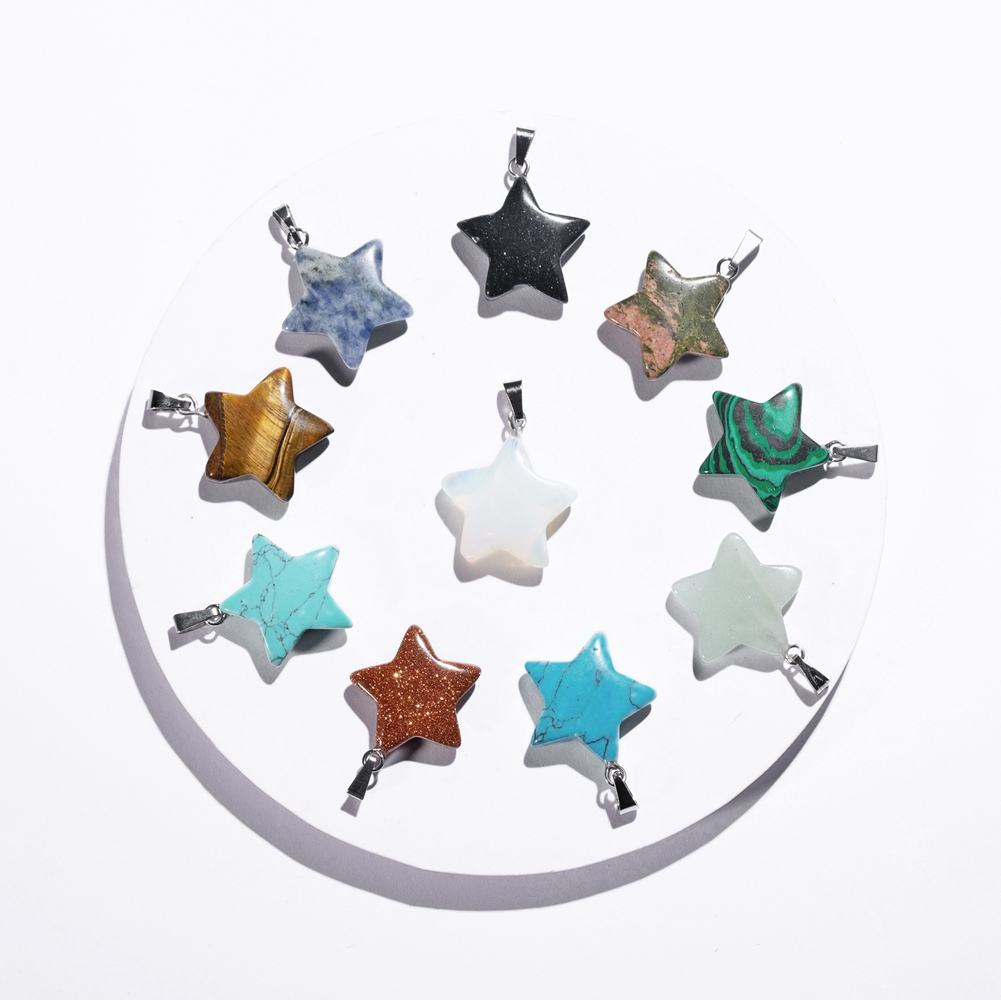Natural Stone Star Shape Healing Stone Pendant Chakra Crystal Gemstone Charms for Necklace Earring Bracelet Jewelry Making