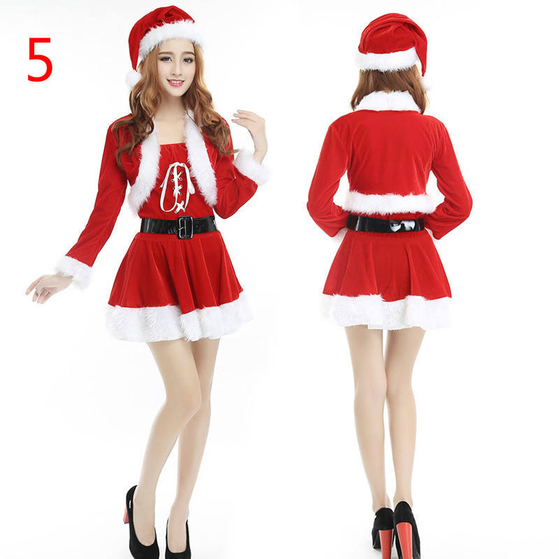 Ecoparty Winter Christmas Adult Sexy Costumes For Women Two Piece Chic Velvet Santa Costume Disfraces Halloween