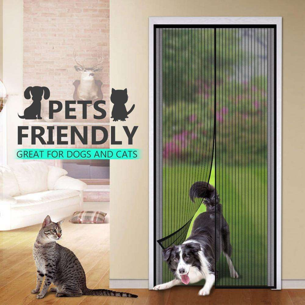 Hands Free Mesh Magnetic Screen Door Self Sealing curtain Heavy Duty