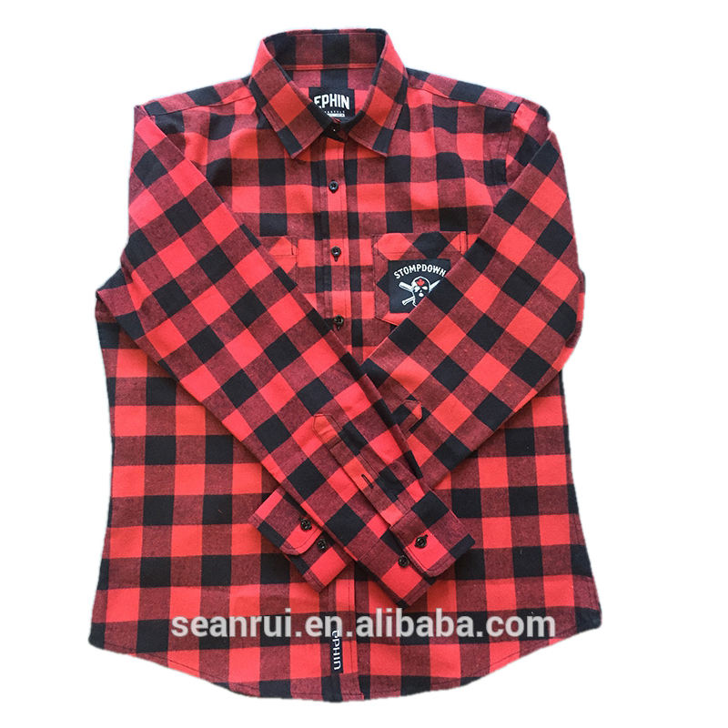 customize woven label flannel shirt men