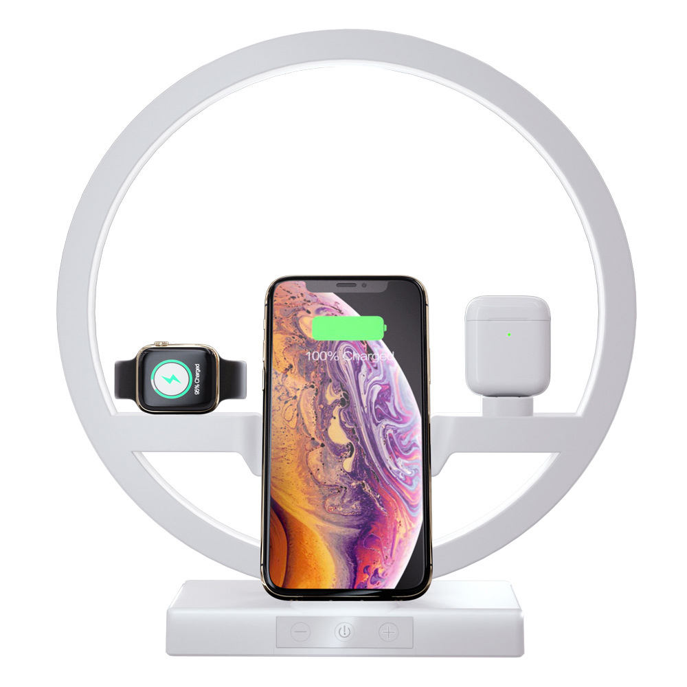 Portable Table Lamp 3-in-1 Wireless Mobile Charger for iPhone,Charging Dock Station Stand for Apple watch/Airpods
