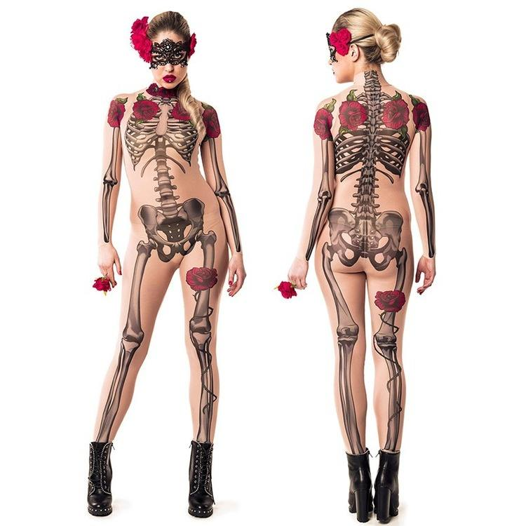 2020 New Nude Skeleton Ghost Scary Cosplay Costumes For Ladies Halloween 3D Print Bodycon Jumpsuit Bodysuit Horror Gothic