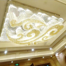 Customized large hotel rectangular non-standard engineering auspicious cloud crystal led chandelier pendant lamp