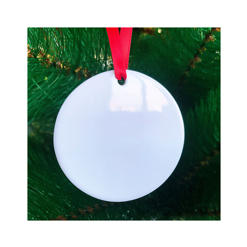 "Gloss White Double Side Sublimation Printing Ceramic Christmas Ornaments Templates Blanks Round 3"" Porcelain Xmas Tree Ornaments"